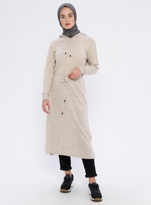 Cream - Acrylic -  - Wool Blend - Tunic