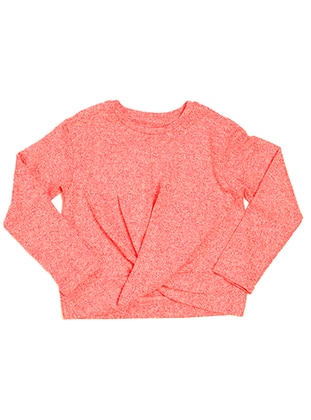 Crew neck -  - Unlined - Red - Girls` Blouse