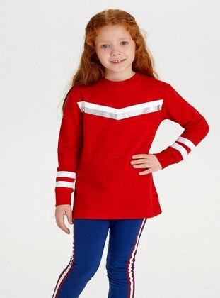 Crew neck -  - Unlined - Red - Girls` Sweatshirt