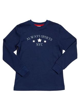 Crew neck -  - Unlined - Navy Blue - Girls` Sweatshirt