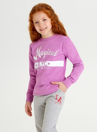 Crew neck -  - Unlined - Lilac - Girls` Sweatshirt