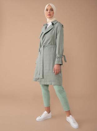 Khaki - Unlined - Shawl Collar - Point Collar -  - Trench Coat