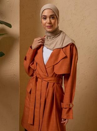 Terra Cotta - Unlined - Shawl Collar - - Trench Coat