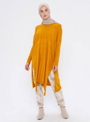 Mustard - Crew neck - Unlined - Acrylic -  - Wool Blend - Poncho