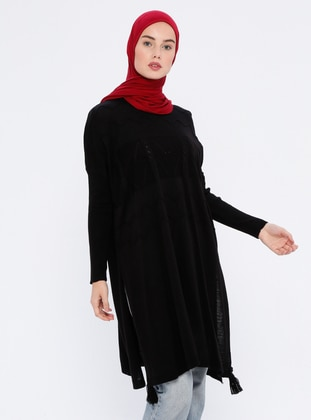 Black - Crew neck - Unlined - Acrylic -  - Wool Blend - Poncho