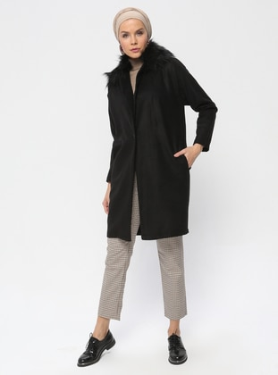Black - Unlined - Point Collar - Coat