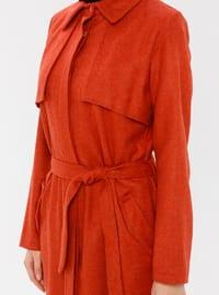 Terra Cotta - Unlined - Point Collar - - Coat