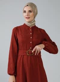 Tuğla - Çin yakalı - Astarsız kumaş - Elbise