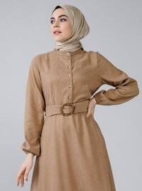 Vizon - Çin yakalı - Astarsız kumaş - Elbise