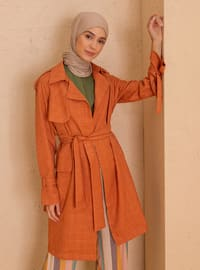 Terra Cotta - Unlined - Shawl Collar - Point Collar - - Trench Coat