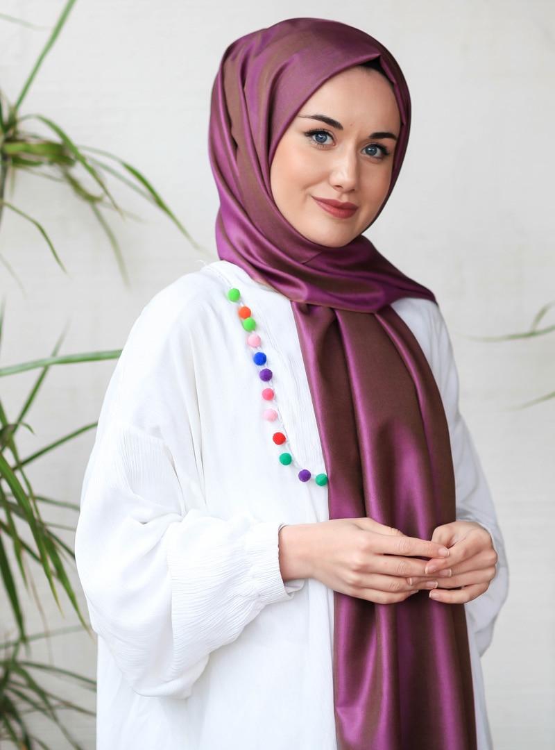 Tesettür %100 İpek Şal İpekhan Altın Mor Kadın Standart