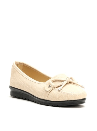 Beige - Flat - Flat Shoes
