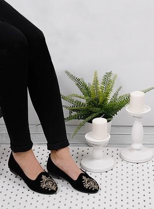 Ecru - Black - Flat - Flat Shoes