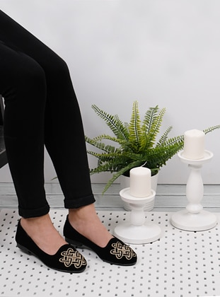 Ecru - Black - Flat - Flat Shoes