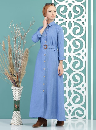 Blue - Point Collar - Unlined -  - Dress
