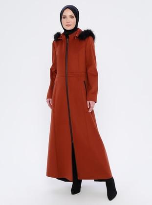 Terra Cotta - Unlined - Crew neck - Viscose - Coat