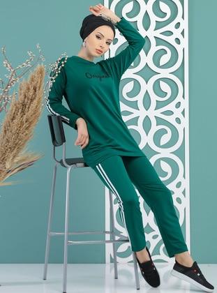 Emerald - Stripe - Crew neck - Tracksuit Set