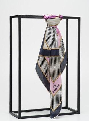 Pink - Printed - %100 Silk - Twill - Scarf