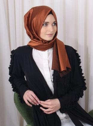Copper - Black - Plain - %100 Silk - Shawl