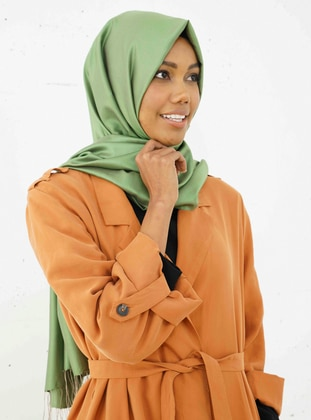 Green - Plain - %100 Silk - Shawl
