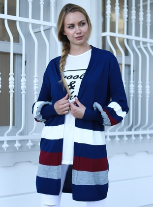 Navy Blue - Acrylic - Cardigan