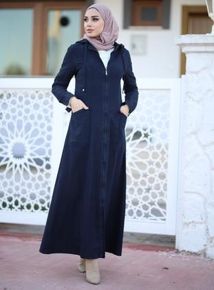 Blue - Black - Unlined - Denim -  - Abaya