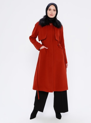 Terra Cotta - Unlined - Crew neck - Viscose - Coat