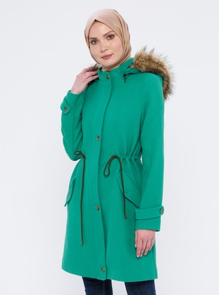 Green - Unlined - Polo neck -  - Coat