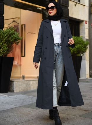 Navy Blue - Unlined -  - Trench Coat