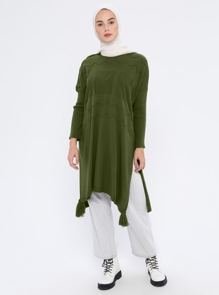 Khaki - Crew neck - Unlined - Acrylic -  - Wool Blend - Poncho