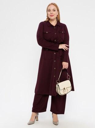 Plum - Point Collar - Plus Size Suit