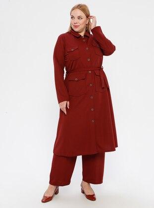 Tan - Point Collar - Plus Size Suit