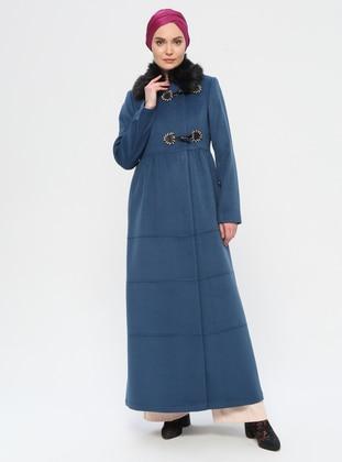 Blue - Unlined - Crew neck - Viscose - Coat