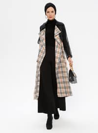 Beige - Black - Plaid - Unlined - Shawl Collar - Trench Coat