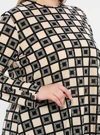 Ecru - Geometric - Crew neck - Unlined - Plus Size Suit