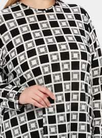 Black - Geometric - Crew neck - Unlined - Plus Size Suit