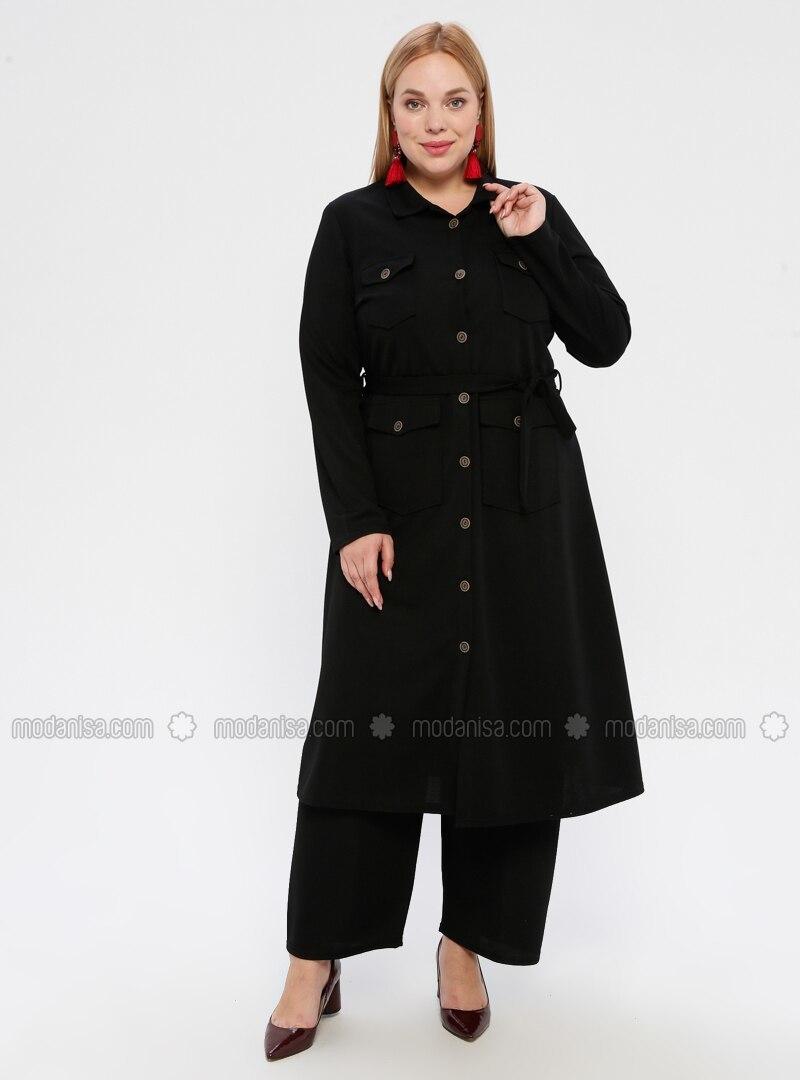 Black - Point Collar - Plus Size Suit