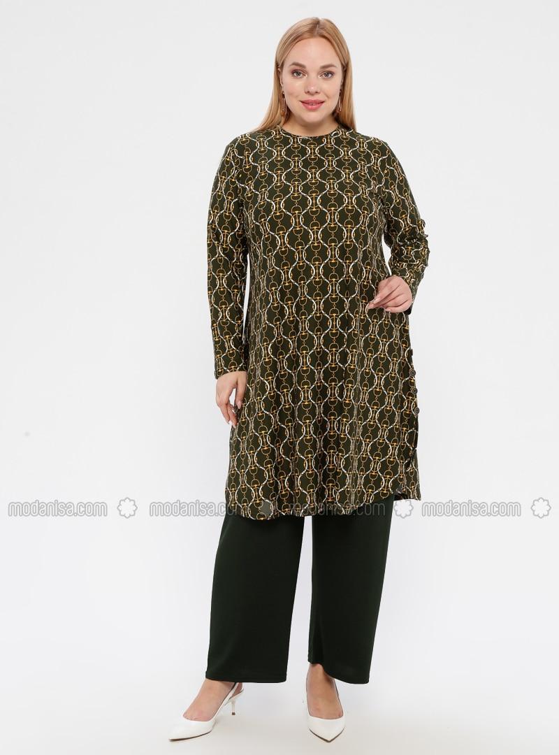 Khaki - Multi - Crew neck - Unlined - Plus Size Suit