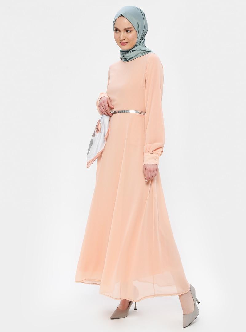Tesettür Elbise Picolina Pudra Kadın 38