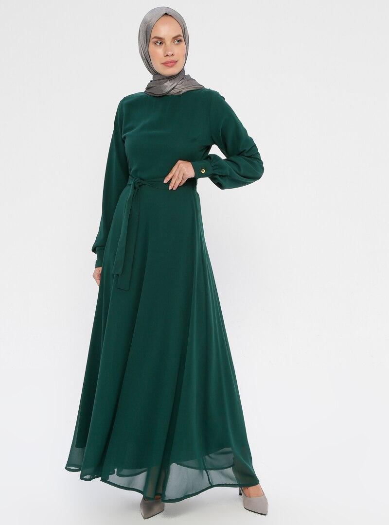 Tesettür Elbise Picolina Zümrüt Yeşili Kadın 44