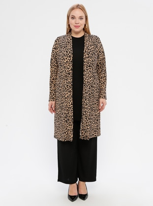 Brown - Black - Multi - Crew neck - Unlined - Plus Size Suit - Topless