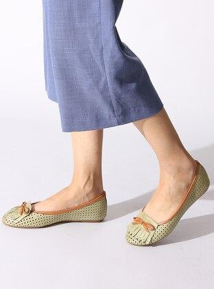 Khaki - Tan - Flat - Flat Shoes