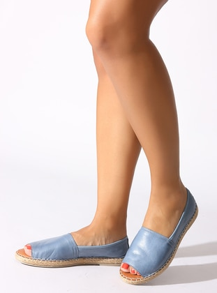Blue - Flat - Denim - Flat Shoes