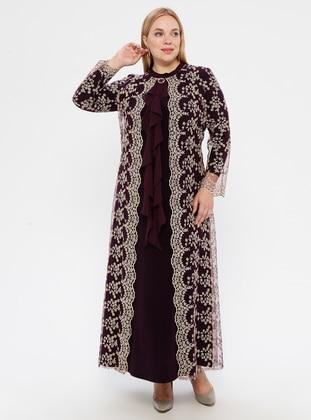 Plum - Unlined - Polo neck - Muslim Plus Size Evening Dress