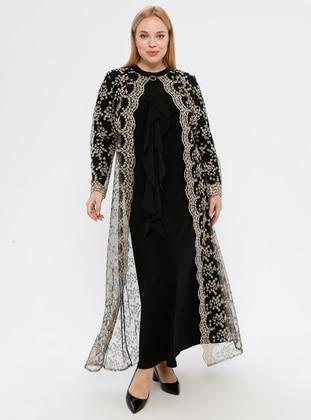 Black - Unlined - Polo neck - Muslim Plus Size Evening Dress