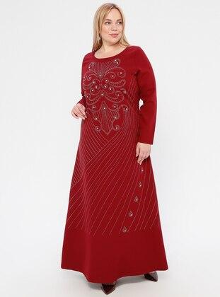 Maroon - Unlined - Crew neck -  - Muslim Plus Size Evening Dress
