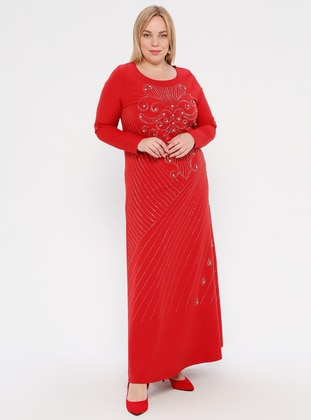 Red - Red - Unlined - Crew neck -  - Muslim Plus Size Evening Dress