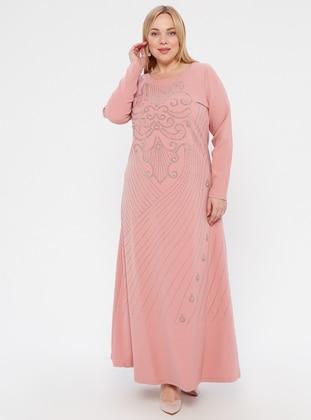 Pink - Pink - Unlined - Crew neck -  - Muslim Plus Size Evening Dress