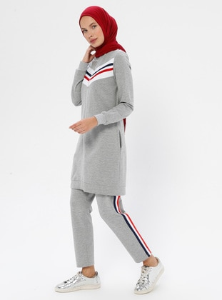 Gray -  - V neck Collar - Tracksuit Set