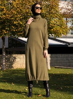 Khaki - Polo neck - Unlined - Acrylic -  - Dress